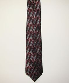 Croft & Barrow Mens Red Grey Geometric 100% Silk Dress Necktie Neck Tie 60in #CroftBarrow #Tie