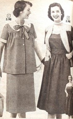 Vintage Maternity Clothes History. The loose pleated tops first seen in the 1930′s combined with the smock apron top of the 1940s gave way to the button down shirts and coats of the 50′s  #vintage #maternity