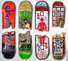 A sample of the many broken Skateboards we have mounted on the walls of our very own #Skateboard Room. Rock on \m/