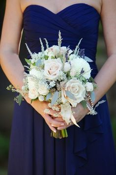 Another gorgeous #bouquet - looks fantastic and crisp against these #navy bridesmaid dresses {SoftBox Media}