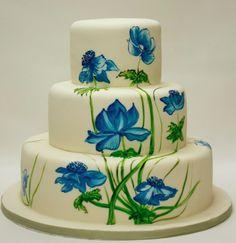 Hand Painted Wedding Cake, Blue Anemones With Green Leafing & Stems~ Painted Wedding Cake, Amazing Wedding Cakes, Amazing Cakes, Hand Painted Cakes, Just Cakes, Wedding Cake Inspiration, Elegant Cakes, Gorgeous Cakes, Wedding Cake Designs