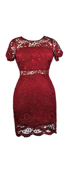 Lily Boutique Peekaboo Crochet Lace Sheath Dress in Burgundy- Plus Size, $40 Cute Red Dress, Plus Size Burgundy Lace Dress, Red Dress Boutique Dress, Plus Size Dresses www.lilyboutique.com
