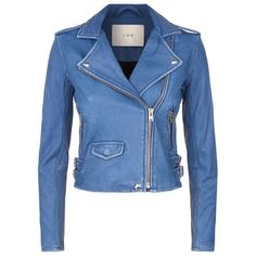 IRO Ashville Biker Jacket ($1,075) ❤ liked on Polyvore featuring outerwear, jackets, coats, biker jacket, coats & jackets, blue jackets, rider jacket, leather rider jacket, genuine leather jacket and moto biker jacket