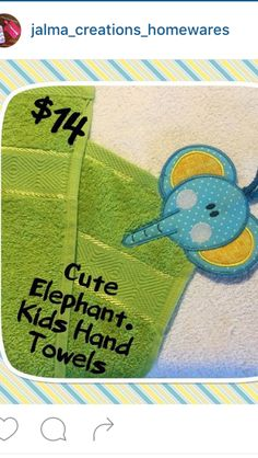 Towel Toppers Cute kids Hand Towel from We Sew Local Cute Elephant, Kids Hands, Hand Towels, Cute Kids, Sewing, Dressmaking, Couture, Stitching, Sew