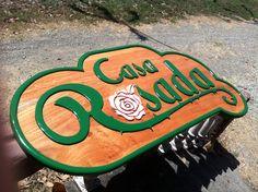 Logo design and carved wood sign, Casa Rosada, Nosara Costa Rica Nosara, Carved Wood Signs, Costa Rica, Logo Design, Carving, Art, Art Background, Wood Carvings, Kunst