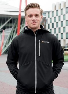 Guinness Harp Soft Shell Zip Jacket: This Guinness performance unisex jacket is comfortable, warm and breathable with a fleece lining and official the Guinness emblem on the breast. Irish Fashion, Irish Design, Woolen Mills, Sweater Shop, Harp, Unisex Fashion, Guinness, Ireland, Rain Jacket