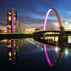 The Clyde Arc Bridge lit up at night on March 2013 in Glasgow, Scotland