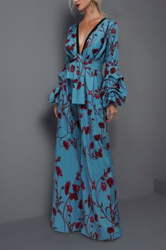 Description Product Name Sexy deep v collar floral printed elastic waist jumpsuit Brand Name Gracybee SKU Gender Women Season Summer/Autumn Trendy Dresses, Fashion Dresses, Summer Dresses, Outfit Summer, Formal Outfits, Casual Dresses, Boho Dress, Dress Up, Robes Glamour