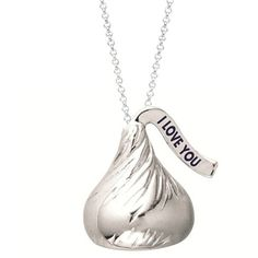 "Medium Flat Back Hershey's Kiss ""I LOVE YOU"" on plume Pendant includes a 16 inches with 2 inch extension Cable chain with Lobster claw."