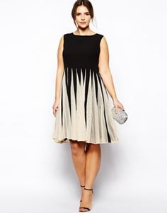 women plus size party dress contrast color flare dress slim tank dress for wholesale and free shipping 3XL-6XL | Allbuy.com