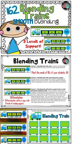 Blending Words Smoothly: BLENDING TRAINS KIT! Perfect for guided reading warm up, RTI reading intervention, and literacy centers. Kindergarten & first grade. TeacherKarma.com