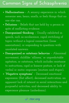Common signs of schizophrenia. Learn more about mental health.