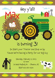 Farm Birthday Party Invitation for kids von TBoneSquid auf Etsy Farm Birthday, 3rd Birthday Parties, Birthday Bash, Birthday Ideas, Kid Parties, Third Birthday, Happy Birthday, Tractor Birthday Invitations, John Deere Party
