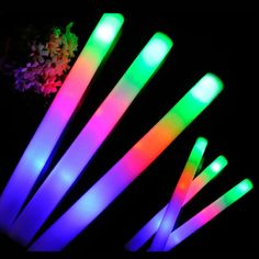 24 Pcs/Lot Colorful Flashing LED Busa Tongkat 48 cm Light-Up Cahaya Tongkat Lembut Rave Rally Tabung Cheer Tongkat untuk Festival Party Supplies
