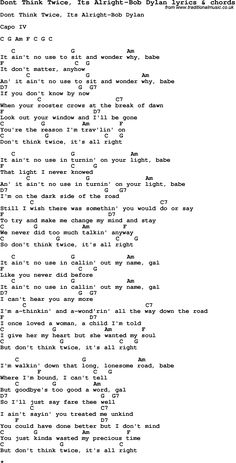 Love Song Lyrics for: Dont Think Twice, Its Alright-Bob Dylan with chords for Ukulele, Guitar Banjo etc.