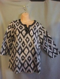 womens blouse size small  Black & White 3/4 sleeve 100% cotton shirt top #StudioWorks #Blouse #Casual