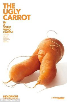 Every year we throw millions of tons of perfectly edible fruit vegetables away because it doesn't look right. Intermarche introduced a new sub-brand inglorious fruit vegetables: Ugly Carrot. Creative Advertising, Print Advertising, Print Ads, Advertising Ideas, Advertising Agency, Fruit And Veg, Fruits And Vegetables, Funny Vegetables, French Supermarkets