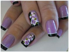 uñas lila y negro, frances y diseño flores mano alzada Cute Nails, Pretty Nails, My Nails, Crazy Nail Art, New Nail Art, Colorful Nail Designs, Nail Art Designs, Birthday Nail Art, Lavender Nails