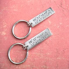 GPS Coordinates Keychain  stylish antiqued charm  by TipsyWhimsey, $12.00