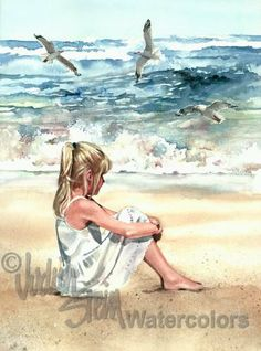 BEACH GIRL Watching Seagulls Watercolor Painting Print
