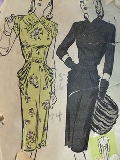 RARE Vintage 1945 BUTTERICK 3301 Drapey DRESS by raggspatternstash, $30.00 love it but it would look dreadfull on me