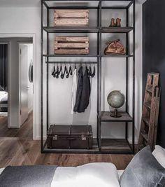 Industrial style open shelved  wardrobe