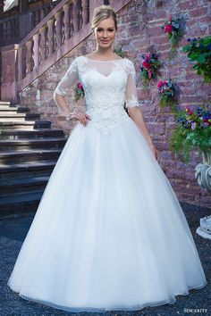 sincerity bridal 2016 style 3870 beaded embroidered lace alencon lace tulle ball gown wedding dress half illusion sleeves