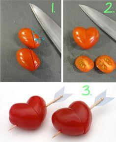 Cute DIY Projects — Cherry Tomato Hearts - Perfect for Valentine's day. : Cute DIY Projects — Cherry Tomato Hearts - Perfect for Valentine's day. Cute Food, Good Food, Fancy Food Presentation, Fruit Recipes, Cooking Recipes, Healthy Finger Foods, Creative Food Art, Food Art For Kids, Cute Diy Projects