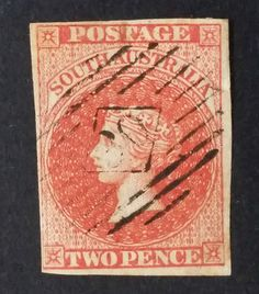 1855- South Australia 2d Red Imperf Sideface Stamp Used Numercl Postmark TUNUNDA