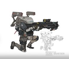 The big bro that loves tank so much Tank Buster Robots Characters, Sci Fi Comics, Sci Fi Armor, Vampire Books, Future Soldier, Cyberpunk Character, Robot Concept Art, Fantasy Warrior, Character Concept