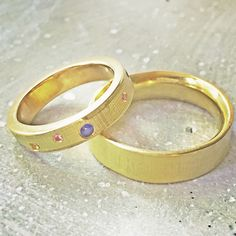 Yellow gold Textured Wedding bands with an array of gypsy set rainbow sapphires. Rings made on my workshop by a happy couple this summer. Commitment Rings, Jewelry Accessories, Jewelry Design, Gold Texture, Make Your Own, Gypsy, Wedding Bands, Sapphire, Workshop