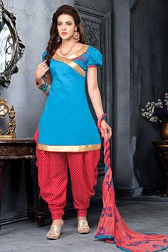 Blue cotton, printed print, semi stictch patiala suit.   V neck, Above knee length, short sleeves kameez.   Dark pink, cotton patiala salwar.   chiffon dupatta with lace border with work.  It is perfect for casual wear and festival wear wear.  Andaaz Fashion is the most popular designer wear online ethnic shop brands.  http://www.andaazfashion.us/salwar-kameez/patiala-suits/occasion/party-wear-patiala-suits