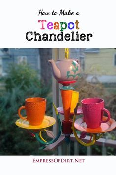 Make this wonderful garden art chandelier using an old light fixture, teapot, and ceramic mugs. Great way to repurpose unwanted household items.