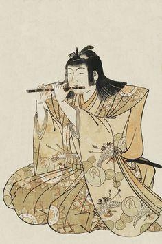 Boy Playing Flute. Ukiyo-e woodblock print, late 18th century, Japan, by artist Kitao Shigemasa