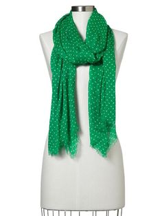 #gap scarf. green and white polka dots.