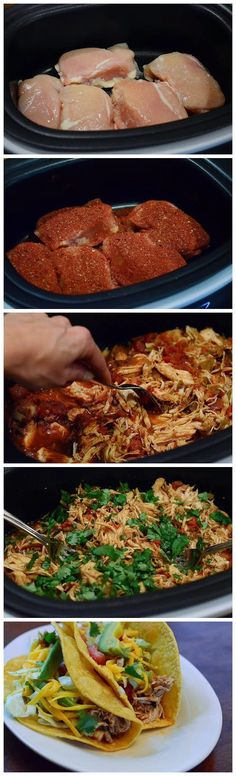 Crockpot chicken tacos. Amazing recipe! I used Rotel instead of separate cans of tomatoes and chiles. I also used my homemade taco seasoning. Turned out delicious and moist. Made taco salads with the leftovers.