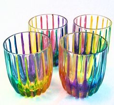 Gay Pride Rainbow Crystal Tumbler Drinking Glasses - Hand Painted. OMG want this for my house