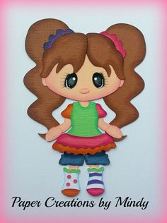 Craftecafe Mindy Mismatch girl  premade paper piecing for scrapbook page border