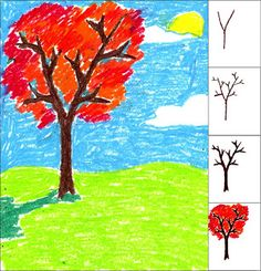 art projects for kids how to draw a fall tree - Color Drawing For Kids
