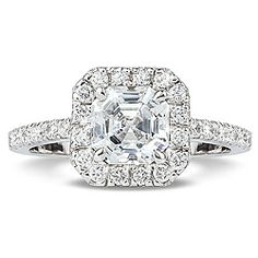 Keira Asscher Cut CZ Halo Solitaire Ring, in 14K white gold 14K yellow gold