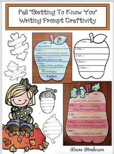 "Writing prompts for fall: Fall ""Getting to know you"" it's all about ""Me!"" writing prompt-craftivity. Includes 7, fall-themed patterns.  Completed projects make a fabulous fall bulletin board you can keep up for months."