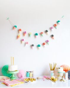 Ice cream party today! Make this itty bitty garland with honeycombs from the @ohhappydaypartyshop by ohhappyday