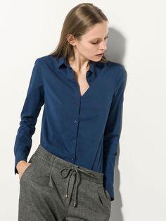 INDIGO STRETCH SHIRT Denim Button Up, Button Up Shirts, Indigo, Shirt Blouses, Spring Summer, Elegant, Jackets, Clothes, Fashion