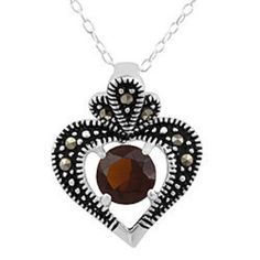 Sterling Silver Marcasite Heart Pendant in Garnet Beautiful Sterling Silver Marcasite Heart necklace in Garnet! Brand new. 18inch Sterling Silver chain. Jewelry Necklaces