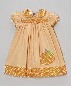 Orange Gingham Pumpkin Dress - Toddler