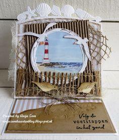 Beach Scrapbook Layouts, Scrapbook Cards, Mix Media, Marianne Design Cards, Nautical Cards, Beach Cards, Up Book, Sea Theme, Halloween Cards