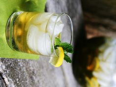 Iced jasmine mint green tea. This is my go-to iced tea recipe to use up some of that mint growing in my yard!