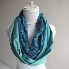 Jade Green Loop Scarf with Teal Lace... Cotton by whitewolfsclouds