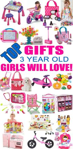 Top Gifts For 3 Year Old Girls! Best gift suggestions & presents for girls third birthday or Christmas. Find the best toys for a girls years. Shop the best gift ideas now! Christmas Presents For 3 Year Olds, Gifts For 3 Year Old Girls, 4 Year Old Girl, Christmas Gifts For Girls, Christmas Toys, Christmas 2019, 3 Year Old Birthday Gift, 3rd Birthday Party For Girls, Birthday Presents For Girls