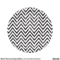 Black Chevron Stripe Halloween Party Paper Plates  sc 1 st  Pinterest : black and white chevron paper plates - pezcame.com